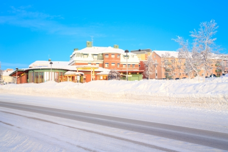kiruna: Kiruna Cityscape Transportation Center in Winter Lapland Sweden Stock Photo