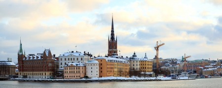 Panorama Cityscape of Gamla Stan Old Town Stockholm city Sweden at dusk photo
