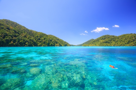 similan islands: Snorkeling point woth beautiful coralscape at Surin national park Phuket Thailand