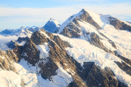 Aerial view of Winter landscape Mountain Cook New Zealand photo