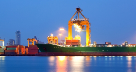 Panorama landscape of shipping freight ship for logistic background photo