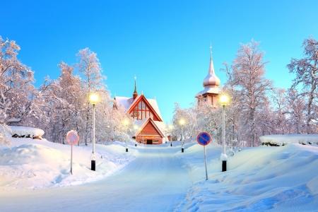 kiruna: Kiruna cathedral Architecture at dusk, Lapland Sweden  Stock Photo