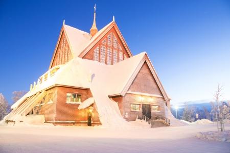 kiruna: Kiruna cathedral Architecture at dusk, Lapland Sweden  Editorial