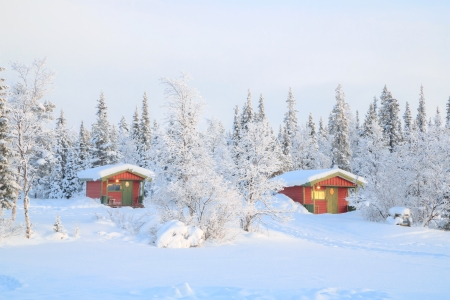 Winter landscape with house at Kiruna Sweden lapland