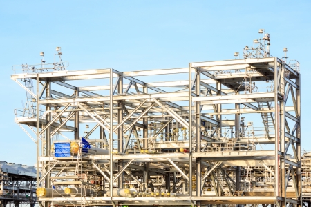 liquefied: Assembling of LNG ,liquefied natural gas, Refinery Factory  for Oil and gas industry background Stock Photo