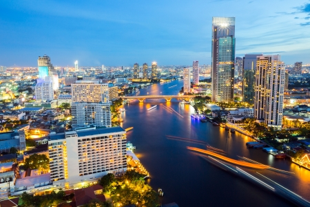 Aerial view of Bangkok Skyline along Chaophraya River sunset twilight photo