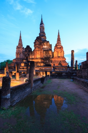 Sunrise Twilight in Wat Mahathat Temple in Sukhothai Historical Park Thailand photo
