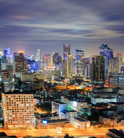 Aerial view of Bangkok downtown Skyline at night