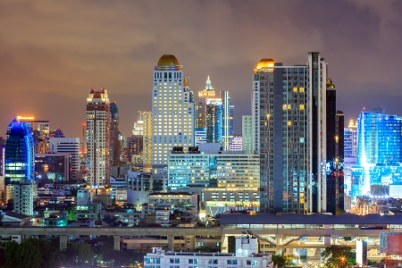 aerial view of Bangkok downtown in business area at Night photo