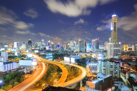 aerial view of Bangkok Highway to Downtown business area at night photo