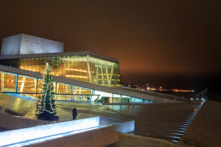 winter theater: Oslo Opera House shine at night, Norway Editorial