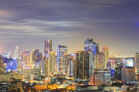 Aerial view of Bangkok downtown Skyline at night photo