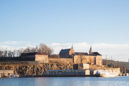 Oslo Fjord harbor and Akershus Fortress, Oslo, Norway