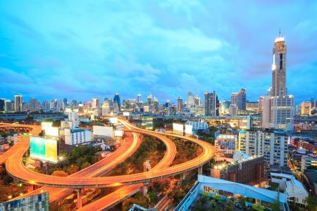 urbanscape: Bangkok Highway at Dusk with skyline in Thailand