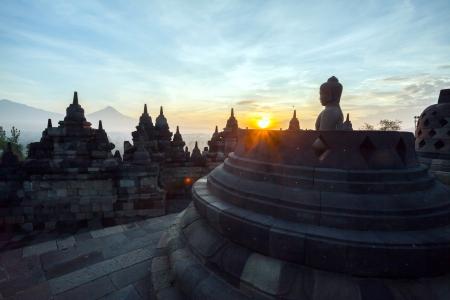 stupas: Borobudur Temple Morning Sunrise in Yogyakarta, Java, Indonesia.