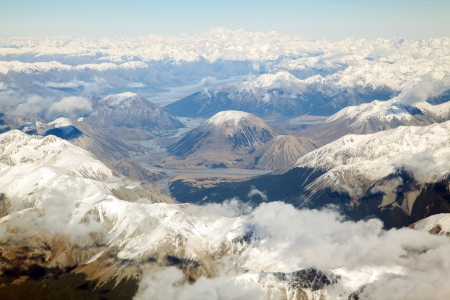 Aerial view of Mount Cook with southern mountain range New Zealand photo