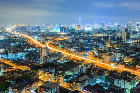 viewpoints: Aerial view of Bangkok downtown Skyline at night