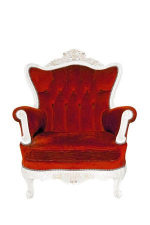 Vintage luxury red sofa Armchair isolated on white background with Clipping path photo