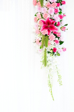 venue: Flowers archway of wedding venue Stock Photo