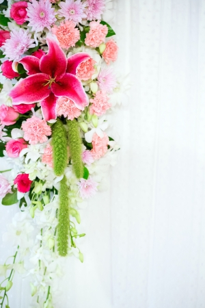 pink lily: Flowers archway of wedding venue Stock Photo