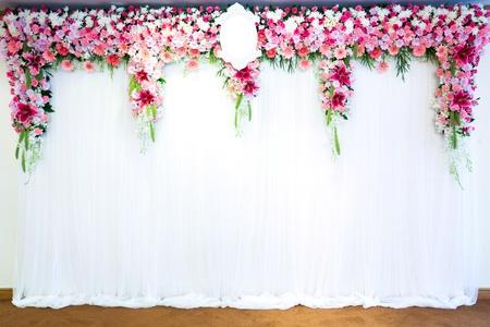 Flowers archway of wedding venue photo