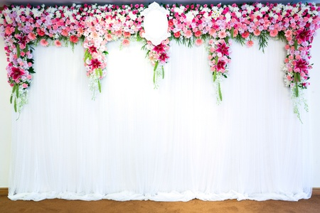 venue: Flowers archway of wedding venue Stock Photo