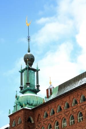 cityhall: Moon Symbol Tower of Stockholm Cityhall Studhus Sweden