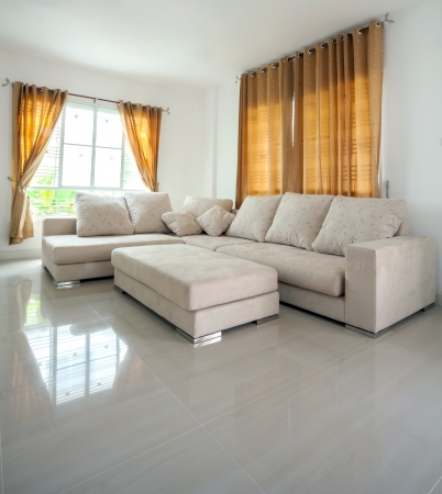 perspective room: modern architecture contemporary, interior, large livingroom Stock Photo