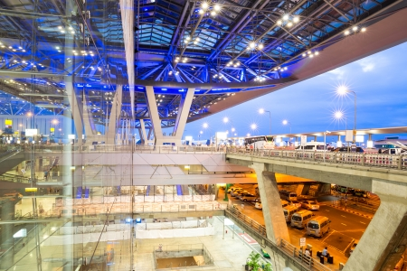 walkway of the bangkok airport exterior of the modern building at dusk Stock Photo - 22410442