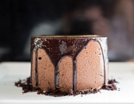 Chocolate mousse Lava Cake on white dish