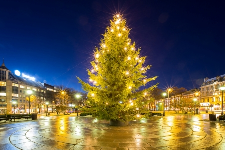 background lights: Christmas tree light in oslo city Norway Stock Photo