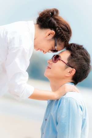 Happy Young Adult Couple in love outdoor photo