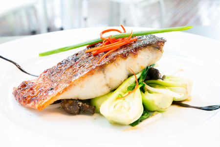 grilled barramundi steak with sweet sauce Stock Photo
