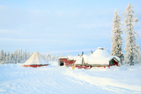 kiruna: Sunrise Winter landscape with house at Kiruna Sweden lapland