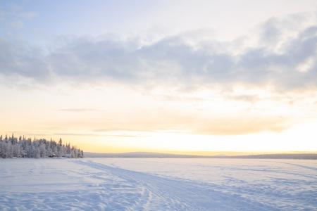 Sunrise Winter landscape at Kiruna Sweden lapland photo