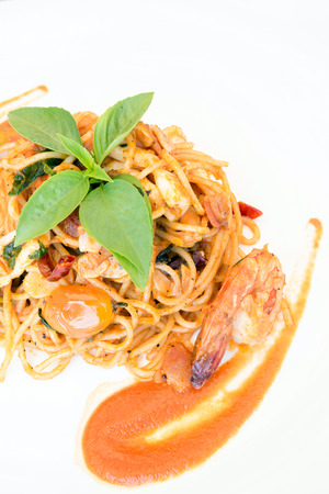 Seafood Spaghetti with tiger prawn meal cuisine photo
