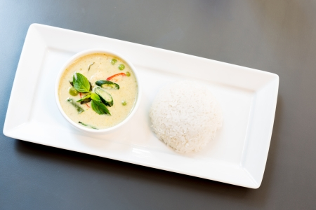 curry chicken: Fish ball Green Curry with jasmine rice