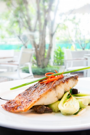 hake: plam glazed grilled barramundi steak