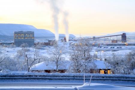 mining town: Iron ore Refinery Factory Plant in winter Kiruna Sweden