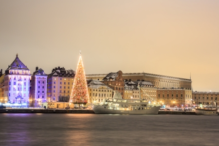 Cityscape of Stockholm city at night with Christmas tree Sweden photo