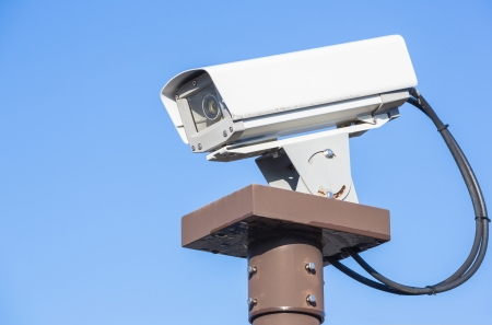 Security Camera CCTV with blue sky Stock Photo - 24441694