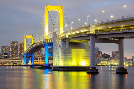 Rainbow bridge from Odaiba Tokyo at dusk in Japan photo