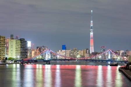 tokyo sky tree: Tokyo cityscape  and Tokyo skytree at night along river