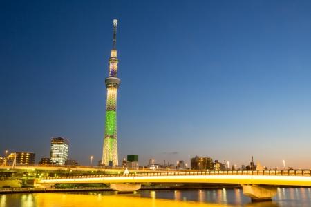 Tokyo skytree illumination at dusk Japan