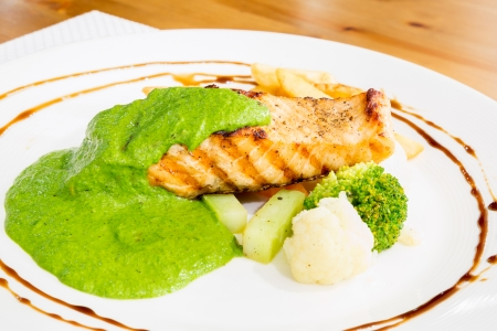 hake: grilled salmon steak with pesto sauce