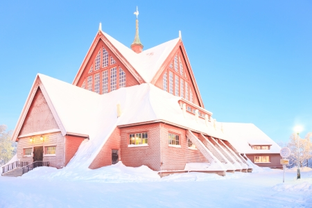 kiruna: Kiruna cathedral church Architecture Sweden at dusk twilight with star trail Stock Photo