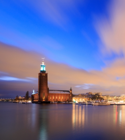 cityhall: Architecture Stockholm City Hall at dusk twilight Sweden  Editorial
