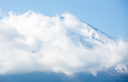Cloudy with Mountain Fuji fujisan at Yamanashi Japan photo
