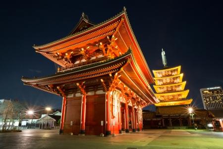red door: Gate with Pagoda at asakusa Senjoji temple in Tokyo Japan