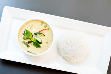 Fish ball Green Curry with jasmine rice photo